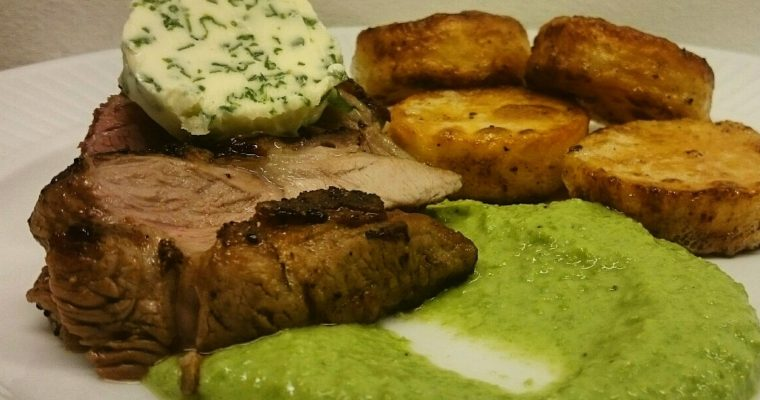 Lamb with Roast Potatoes and Pea Purée